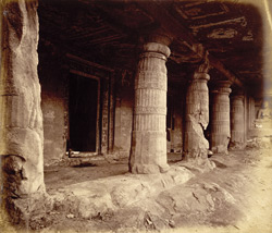 General view from the left of porch and entrance to Buddhist Vihara, Cave II, Ajanta